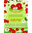 floral holiday poster of summer flowers bouquet vector image