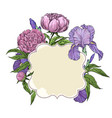 frame cover greeting card with beautiful flowers vector image vector image