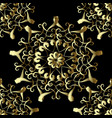 gold embroidery style floral seamless pattern vector image vector image