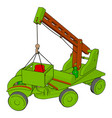 green construction vehicles toy on white vector image vector image