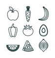 healthy food set icons vector image
