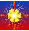 holiday card ribbon and bow present box vector image