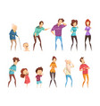 laugh people icon set vector image vector image