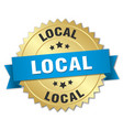 local 3d gold badge with blue ribbon vector image vector image