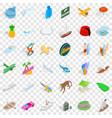 miami beach icons set isometric style vector image vector image