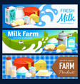 milk products dairy farm butter and cheese vector image