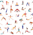 people practicing yoga seamless pattern vector image vector image