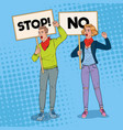 pop art man and woman protesting on the picket vector image vector image