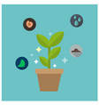 science glowing plant concept blue background vect vector image