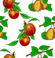 seamless wallpaper with peaches and pears vector image vector image