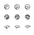 set of eagle logo design template head eagle vector image