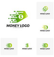 set of fast money logo design concept fast coin vector image