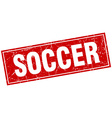 soccer red square grunge stamp on white vector image vector image