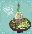 still life with white wine and grape vector image