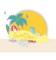 summer time banner with typographic on ribbon and vector image
