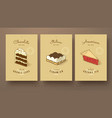 sweet collection of double cake tiramisu and vector image vector image