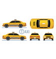taxi car yellow cab view from side front back vector image