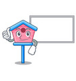 thumbs up with board cartoon little bird house in vector image