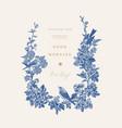 wedding invitation with birds blue vector image