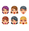 girls stylish woman lips slightly open mouth vector image