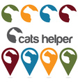 cats helper design template pins and web icons set vector image