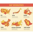 Country maps infographic template USA Japan vector image