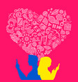 valentines day young love internet icon concept vector image
