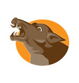angry wild pig head retro vector image vector image