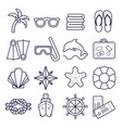 beach resort line icons palm sunglasses flip vector image