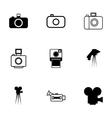 black camera icon set vector image vector image