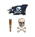 cartoon pirates symbols set isolated vector image