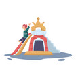 child boy going on hill in castle playground sign vector image
