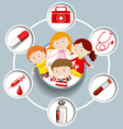 Children and medical symbols vector image vector image