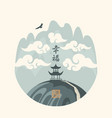 chinese landscape with a pagoda in mountains vector image vector image