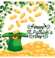 clovers with gold coins inside st patrick hat vector image vector image