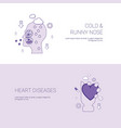 cold runny nose and heart diseases concept vector image