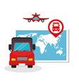 collection transport concept map truck plane vector image