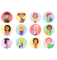 color icons with reading boys and girls on white vector image vector image