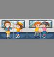 coronavirus theme with people in subway vector image