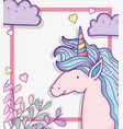 cute unicorn with clouds and branches leaves vector image