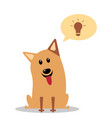 dog having great ideas showing a glowing lightbulb vector image vector image