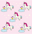 doodle pattern cute unicorn with cloud vector image vector image