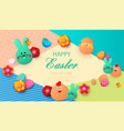 easter card with rabbit and chickens spring vector image vector image