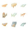 Facility for crossing river icons set vector image vector image