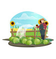 farmer with watering hose and vegetables on farm vector image