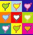 gender signs in heart shape pop-art style vector image