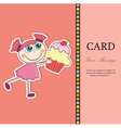 girlwithcupcakecard vector image vector image