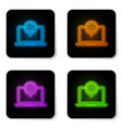 glowing neon laptop and gear icon isolated on vector image vector image