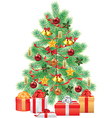 green fir tree decorations gifts vector image