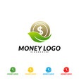 green money logo design concept coin with leaf vector image vector image